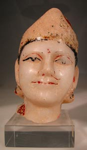 Indian Painted Marble  Head of Krishna