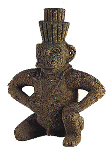 Sculpted Masked Figure In  Volcanic Stone
