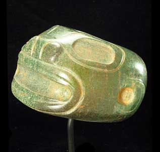 Guanacaste-Nicoya Jade Mace Head in the Form of a Jaguar Head