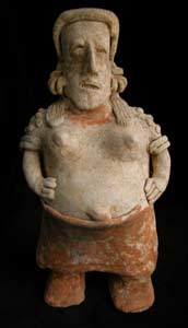San Juanito Style Jalisco Terracotta Sculpture of a Standing Pregnant Woman