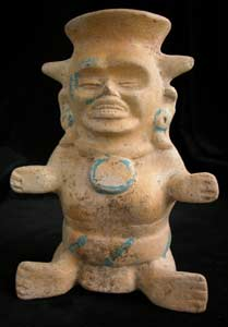 Mayan Seated Dwarf Effigy Vessel