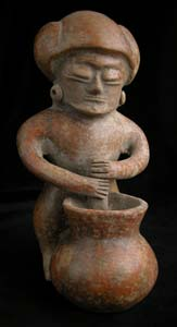 Chorrera Vessel in the Form of a Man Stirring a Bowl