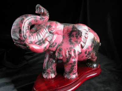 Rhodonite Sculpture of an Elephant