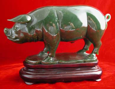 Jade Sculpture of a Pig
