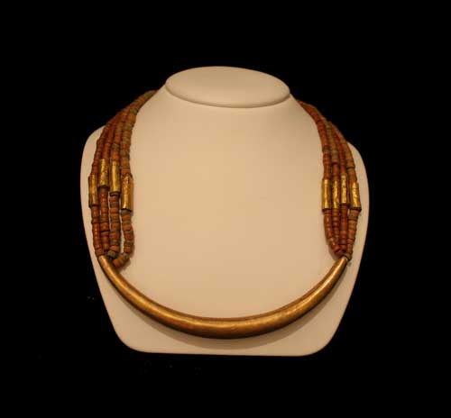 Necklace with Sinu Gold, Tumbaga, and Clay Beads