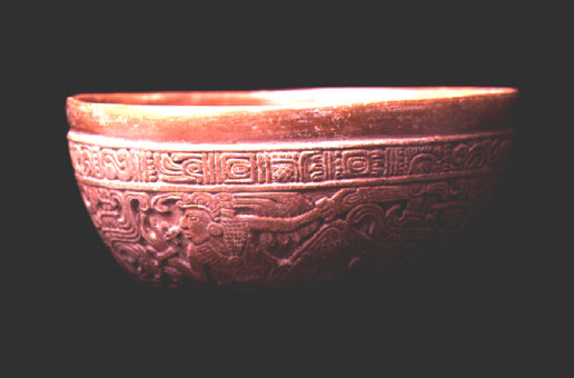 Mayan Press-Molded Brown-Ware Bowl