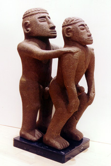 Basalt Sculpture of a Homosexual Copulating Couple