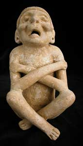Mayan Sculpture of a Seated Deity/Shaman