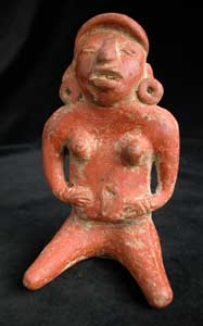 Mayan Sculpture of a Seated Woman