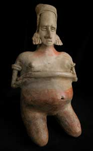 San Juanito Style Jalisco Terracotta Sculpture of a Kneeling Pregnant Woman