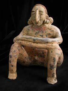San Juanito Style Jalisco Terracotta Sculpture of a Seated Man