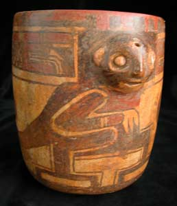 Polychrome Terracotta Vessel Depicting a Monkey