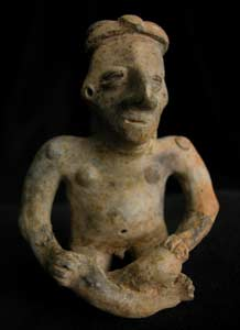 Jalisco Sculpture of a Seated Man Holding a Scepter and an Offering Bowl
