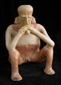 Pre-Columbian Art / San Juanito Style Jalisco Seated Man with an Object in His Mouth