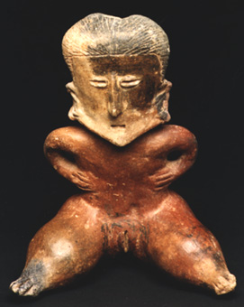 Chinesco Style (Type D) Nayarit Terracotta Sculpture of a Seated Woman