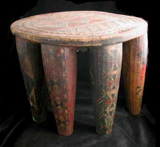 African Art / Nupe Wooden Polychrome Stool