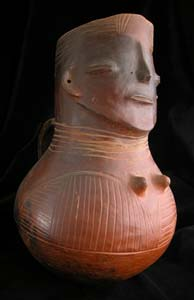 Kuba Terracotta Vessel in the Form of a Woman