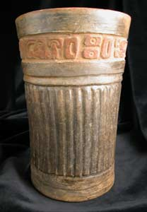 Mayan Carved Black Cylindrical Vessel