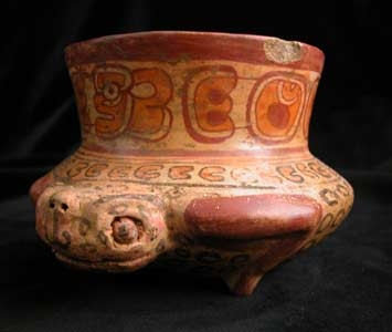 Mayan Polychrome Bowl in the Shape of a Frog