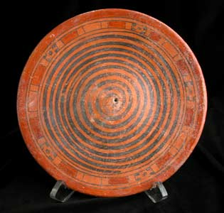 Mayan Polychrome Plate with a Spiral Pattern