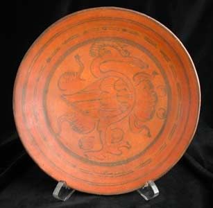 Mayan Polychrome Plate Depicting A Bird