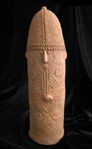 Bura Terracotta Phallic Vessel with a Face