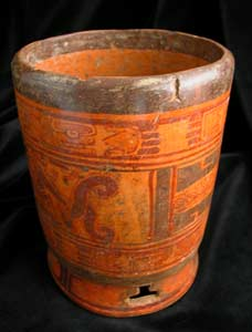 Mayan Babilonia Raised Cylindrical Vessel