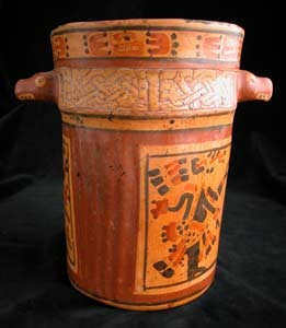 Mayan Babilonia Painted and Engraved Cylindrical Vessel