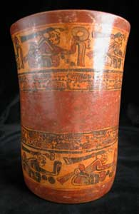 Mayan Copador Polychrome Cylindrical Vessel