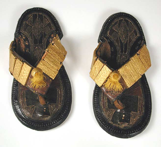 Akan Leather Sandals with Gold Ornaments