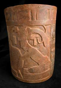 Mayan Carved and Painted Cylindrical Vessel