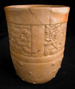 Mayan Molded Cylindrical Vessel
