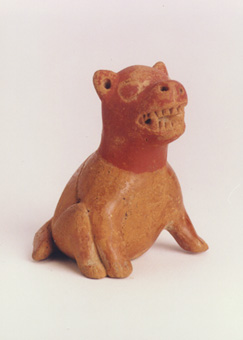 Pre-Columbian Art / Colima Miniature Sculpture of a Seated Dog