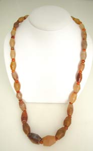 Necklace Composed of Large and Small Carnelian Beads