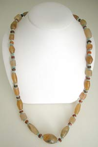 Carnelian, Agate and Faience Bead Necklace