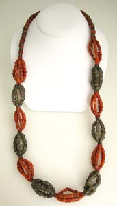 Carnelian, Rock Crystal and Brown Quartz Necklace