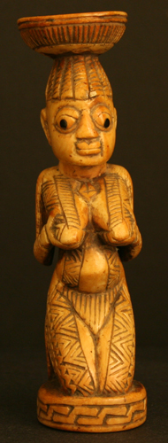 Yoruba Ivory  Female Kneeling Figure
