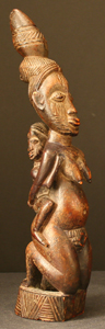 Yoruba Ivory Mother and Child Figure