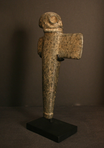 Costa Rican Stone Ceremonial Axe Topped by a Skull