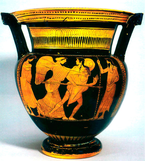 Greek Red-Figure Column Krater Depicting Eos and Kephalos