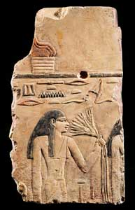 Egyptian Painted Limestone Relief of a Young Lady