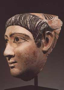 Egyptian Painted Plaster Funerary Mask of a Young Man