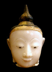 Shan Black Lacquered Marble Head of Buddha