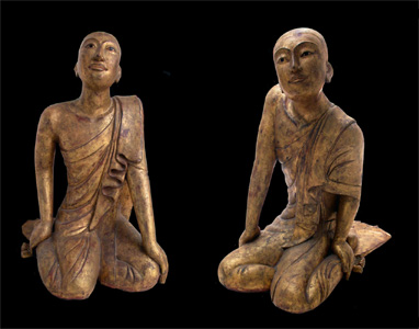 Pair of Mandalay Gilt Wooden Seated Disciples