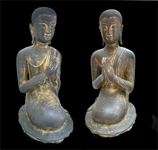 Pair of Rattanakosin Gilt Bronze Sculptures of Seated Disciples
