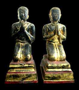 Pair of Rattanakosin Gilt Bronze Seated Disciples