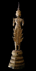 Rattanakosin Gilt Bronze Sculpture of the Walking Buddha