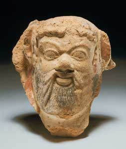 Etruscan Terracotta Head of a Bearded Man