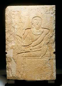 6th Dynasty Limestone Wall Panel Depicting a Seated Man