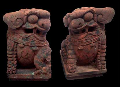 Pair of Ming Red Sandstone Fu Dogs